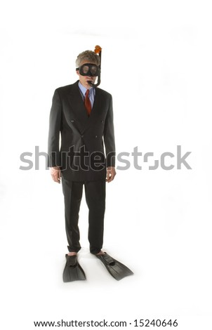 Business man swimming into deep water - stock photo