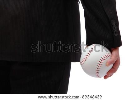 Business man take baseball ready to  pitching - stock photo