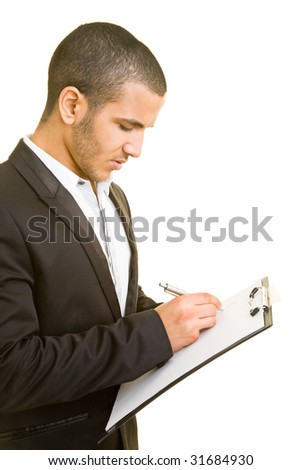Business man taking notes on a clipboard - stock photo
