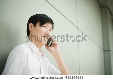 business man talking on smart phone - stock photo