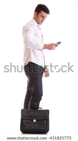 Business man talking on the phone over white - stock photo