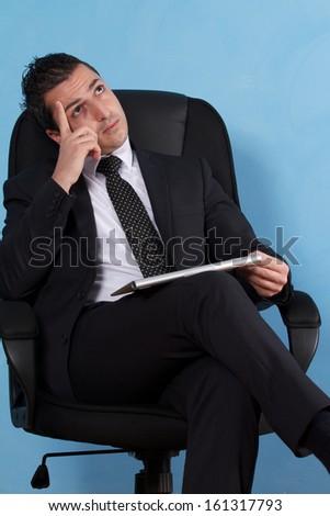 business man thinking - stock photo