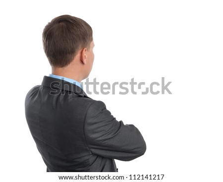business man thinking. back view. Isolated on white - stock photo