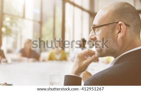 Business Man Thinking Contemplating Meeting Concept - stock photo