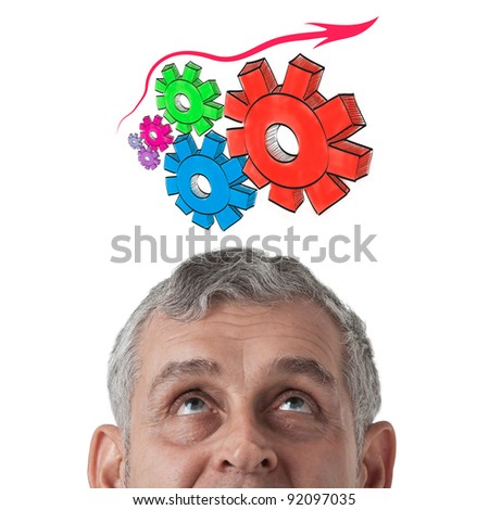 Business man thinking to gear of business success - stock photo