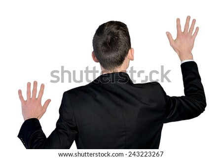 Business man touch imaginary screen - stock photo