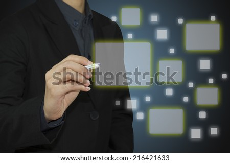 Business man touch screen modern virtual technology - stock photo