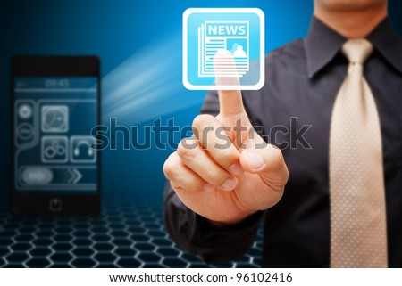 Business man touch the News icon - stock photo