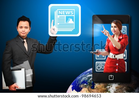 Business man touch the News icon from mobile phone : Elements of this image furnished by NASA - stock photo