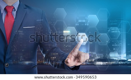 business man touch visual screen , business concept - stock photo