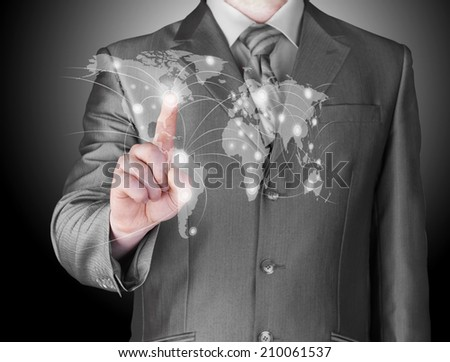 business man touch world map and connection - stock photo