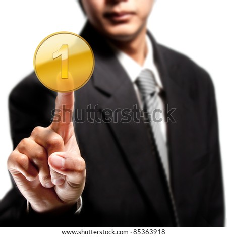 Business man touching on number 1 ranking gold - stock photo