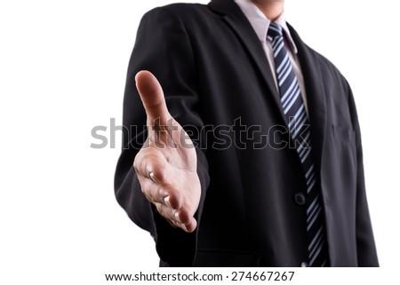 business man try to handshake - stock photo