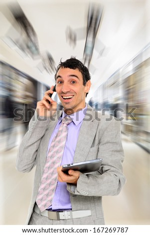 Business man using a table PC - stock photo
