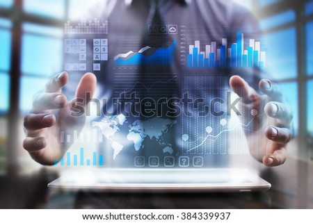 business man using modern tablet computer. business tehnology and internet concept. - stock photo
