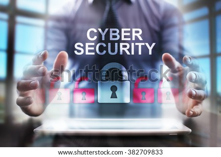 business man using modern tablet computer.  cyber security concept. business tehnology and internet concept. - stock photo