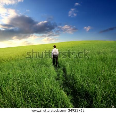 business man walking trough grass field - stock photo