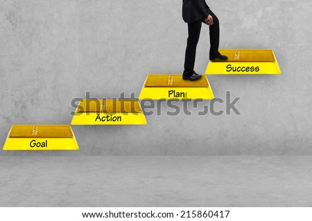 business man walking up gold bars stepping ladder and word goal plan work  success idea concept step by step for success and growth business - stock photo