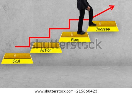 business man walking up gold bars stepping ladder have red rising arrow and word goal plan work  success idea concept step by step for success and growth business - stock photo