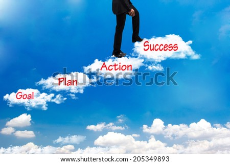business man walking up stepping cross cloud stairs on blue sky with word goal plan action success idea concept for success and growth  - stock photo