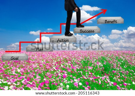 business man walking up stepping ladder on field flower against blue sky with word goal plan action success benefit idea concept for success and growth  - stock photo