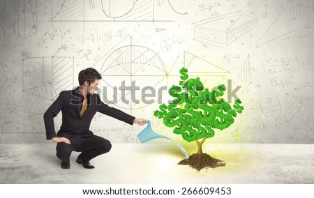 Business man watering a growing green dollar sign tree concept - stock photo