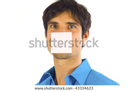 Business man with a post-it note on his face - stock photo