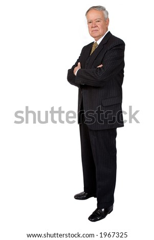 business man with arms crossed serious over white - stock photo
