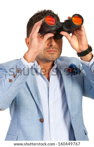Business man with binocular isolated on white background - stock photo