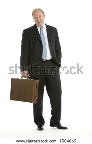 Business man with brief case - stock photo