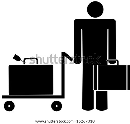 business man with briefcase and luggage on trolley - stock photo