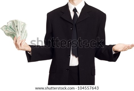 Business man with cash over isolated background - stock photo
