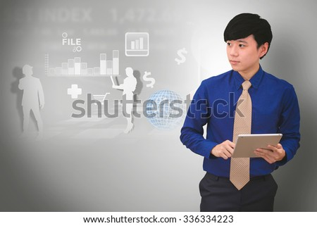 Business man with chart - stock photo