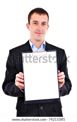Business man with clipboard - stock photo