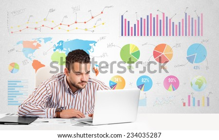 Business man with colorful charts graphs - stock photo