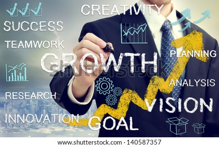 Business man with concepts of growth, innovation, vision, success, and creativity with rising arrows - stock photo
