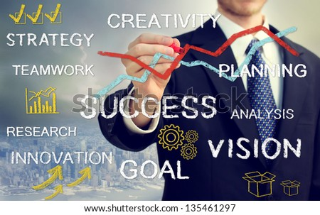 Business man with concepts of innovation, vision, success, and creativity - stock photo
