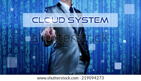 Business man with digital background pressing on button cloud system - stock photo