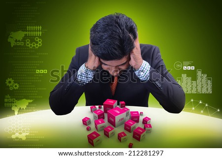 Business man with dot com domain in cubes - stock photo