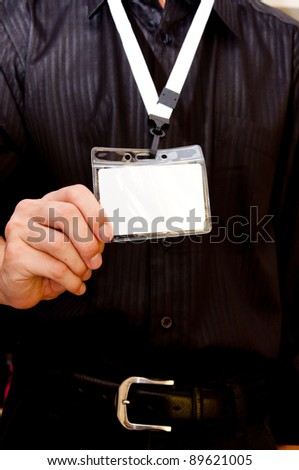 business man with employee badge - stock photo