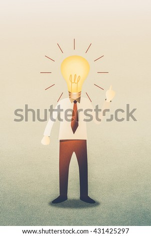 Business man with head  idea lightbulb - stock photo