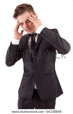 Business man with headache, isolated in white background - stock photo