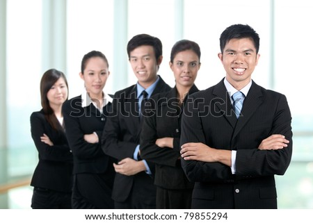 Business man with his team - stock photo