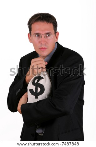 Business man with money bag - stock photo