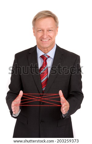 Business man with pack-twine - stock photo