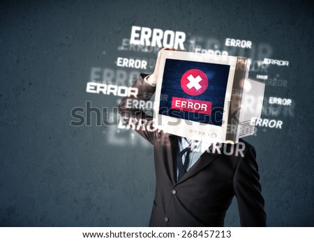 Business man with pc monitor on his head and error messages darker background - stock photo