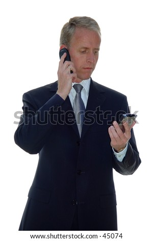 business man with phone and pda - stock photo