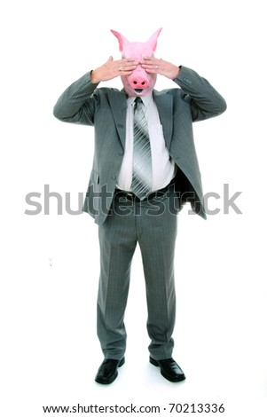 Business man with piggy mask closing his eyes - stock photo