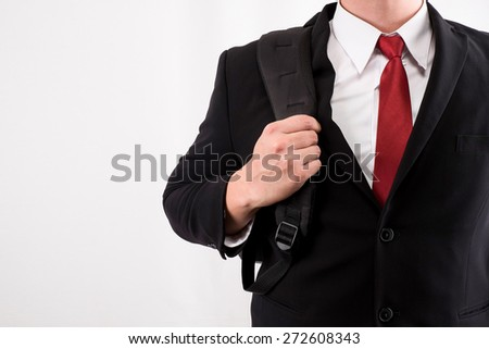 Business man with shoulder Bags - stock photo