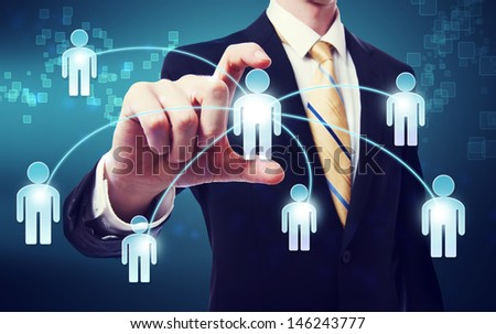 Business Man with social network concept - stock photo